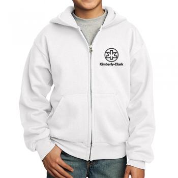 ustom Printed Port And Company Youth Core Fleece Full-Zip White Hooded Sweatshirts