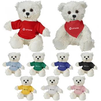 Custom Imprinted Cuddliez White Bear Plush Toys