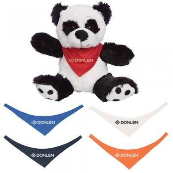 Promotional 8.5 Inch Big Paw Pandas Plush Toys with Bandana