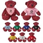 Promotional Logo Maroon Color Bear Plush Toys