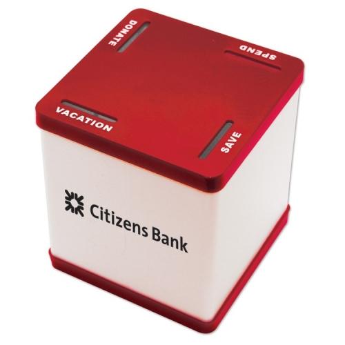 Customized 4 Slot Savings Bank Red