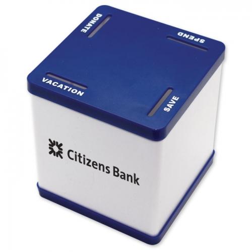 Personalized 4 Slot Savings Bank Blue