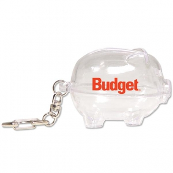 Customized Piggy Bank Keychain - Clear