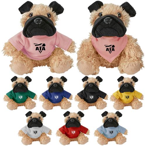 Custom Imprinted Cuddliez Pug Plush Toys Stuffed Plush Animals