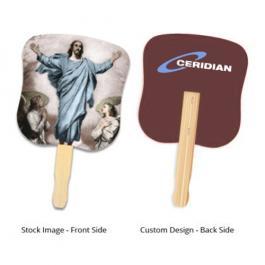 7.625 x 8 Inch Promotional Stock Resurrection Of Jesus Design Hand Fans