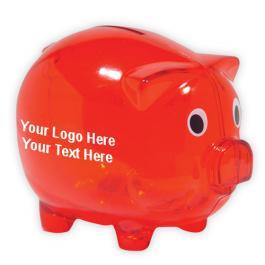 Customized Classic Piggy Bank - Translucent Red