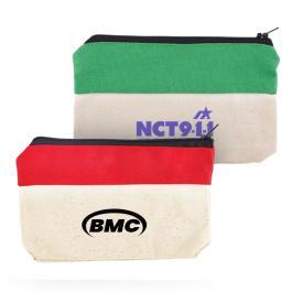 Customized Two-Tone Zip Cotton Valuables/School Supplies Pouches