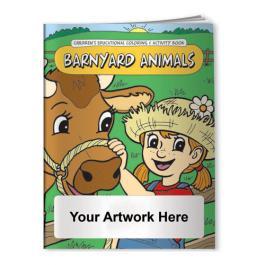 Logo Imprinted Coloring Books - Barnyard Animals