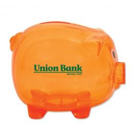 Customized Classic Piggy Bank - Translucent Orange