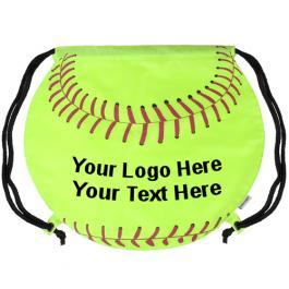 Promotional GameTime Softball Design Drawstring Backpacks